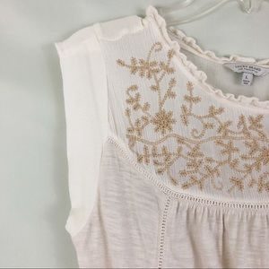 Lucky Brand Embroidered Cream Top Size Large